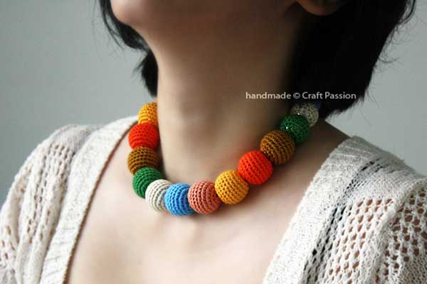 Cheerful Rainbow Bead Necklace Free Crochet Pattern