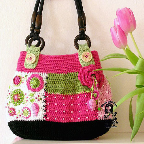 Gently love bag crochet pattern - Allcrochetpatterns.net