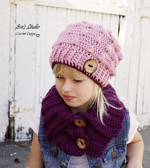 Bobble Hat And Neck Warmer Crochet Pattern Allcrochetpatterns