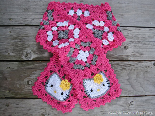 Free Pattern Crochet Hello Kitty : Hello kitty granny square scarf - Free crochet pattern