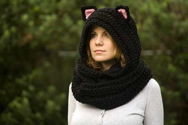 Hooded cat scarf crochet pattern - Allcrochetpatterns.net