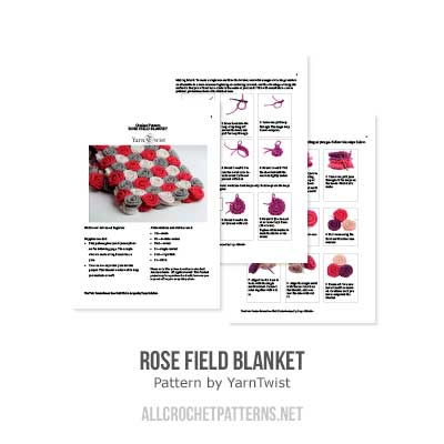 Rose Field blanket crochet pattern - Allcrochetpatterns.net