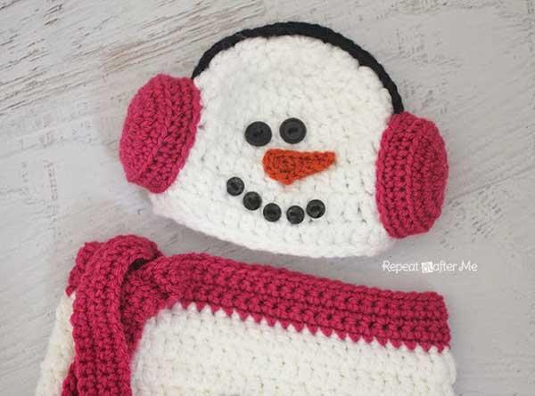 Crochet Snowman Baby Cocoon Pattern : Snowman ear muff hat and cocoon - Free crochet pattern