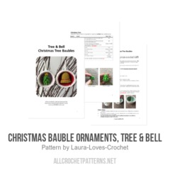 Christmas Bauble Ornaments, Tree & Bell crochet pattern by Laura Loves Crochet