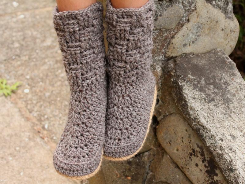Basket Weave Kids Crochet Slippers Crochet Pattern