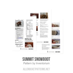 Summit Snowboot crochet pattern by Inventorium