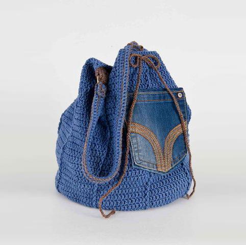 Denim Upcycled Drawstring Bag 276 Crochet Pattern