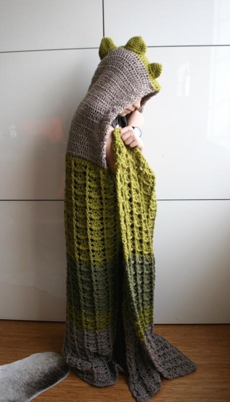 Dinosaur Hooded Blanket Crochet Pattern