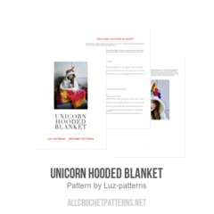 Unicorn hooded blanket crochet pattern by Luz Patterns