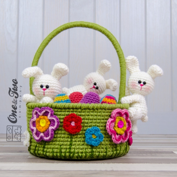 Little Bunnies Easter Basket Crochet Pattern Allcrochetpatterns