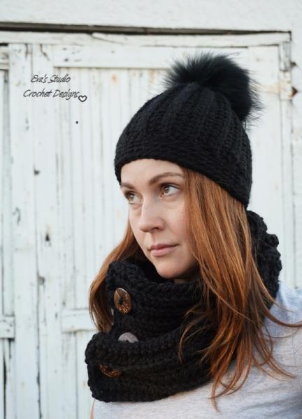 Fur Pom Pom Beanie With Neck Warmer Crochet Pattern