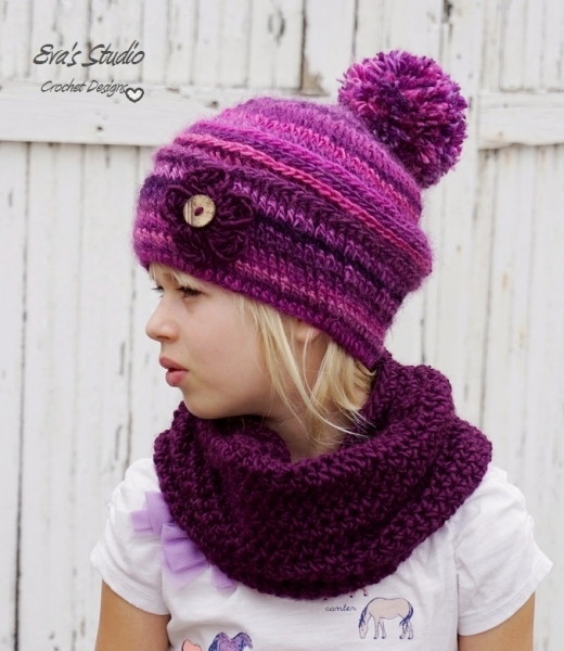 Pom Pom Hat And Neck Warmer Crochet Pattern Allcrochetpatternsnet