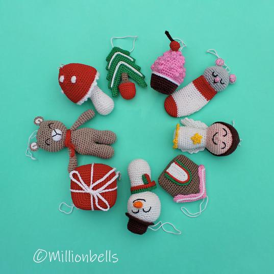 christmas tree ornaments set crochet pattern by millionbells - Christmas Tree Ornaments Sets