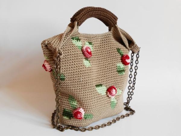 3D Roses bag crochet pattern - Allcrochetpatterns.net