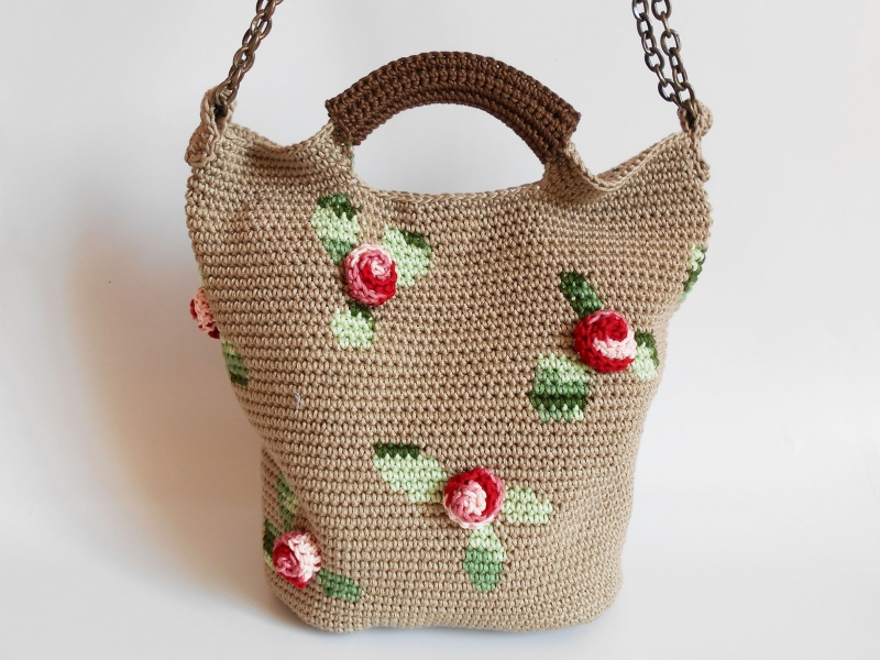3d Roses Bag Crochet Pattern Allcrochetpatterns