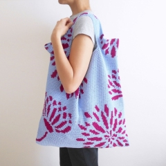 Dahlias and leaves bags crochet by Chabepatterns