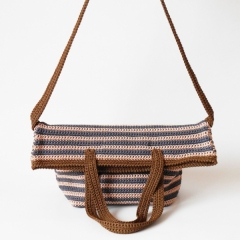 Striped bag with two handles crochet pattern by Chabepatterns