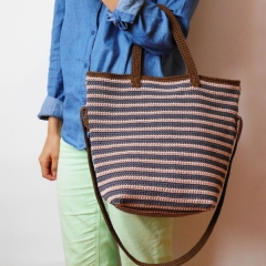 Striped bag with two handles crochet by Chabepatterns