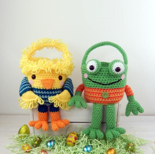 Chick And Frog Easter Baskets Crochet Pattern Allcrochetpatterns