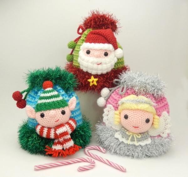 Christmas Drawstring Bags Elf Santa And Angel Crochet Pattern