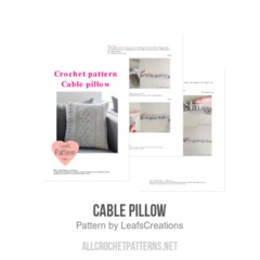 Cable pillow crochet pattern by LeafsCreations