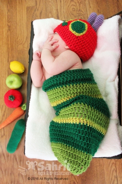 Hungry Caterpillar Hat And Cocoon Crochet Pattern