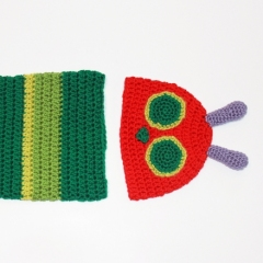 Hungry Caterpillar Hat and Cocoon crochet by eye for cuteness