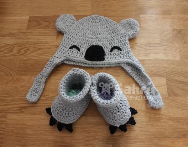 Koala hat and booties crochet pattern allcrochetpatterns