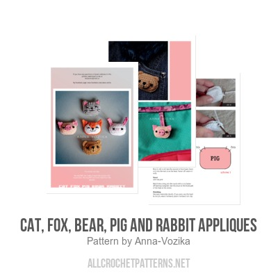 Cat fox bear pig and rabbit appliques crochet pattern cat fox bear pig and rabbit appliques crochet pattern by anna vozika dt1010fo