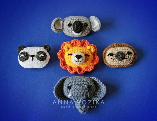 Panda Lion Elephant Sloth Koala Appliques Crochet