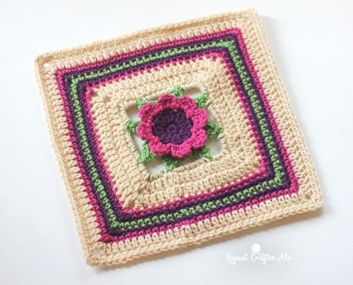 3D Flower granny square crochet pattern
