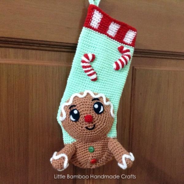 Gingerbread Man Christmas Stocking Crochet Pattern