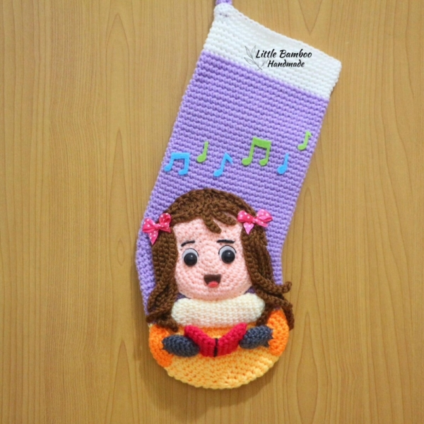 caroling girl christmas stocking crochet pattern by little bamboo handmade - Girl Christmas Stocking
