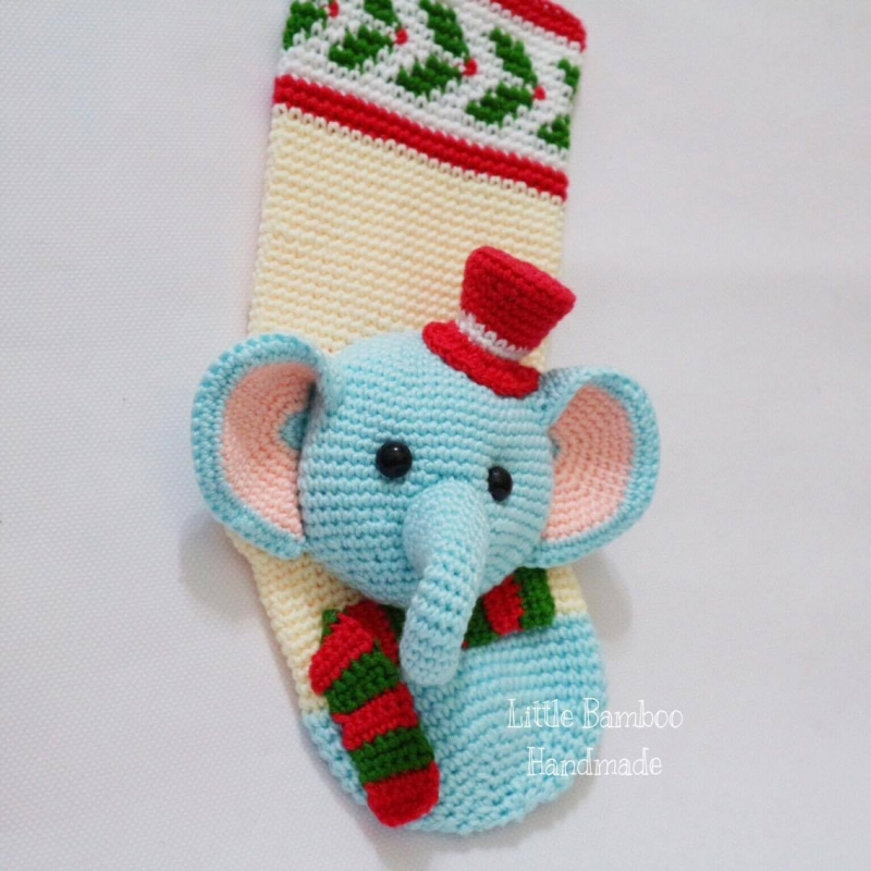 Elephant Christmas Stocking - Allcrochetpatterns net