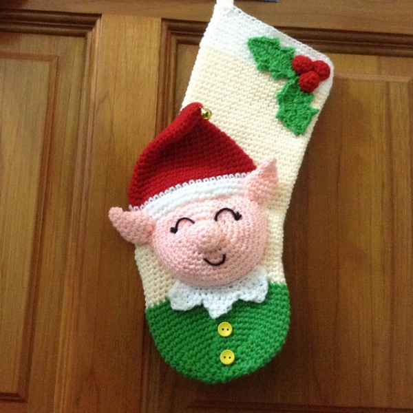 Elf Christmas Stocking crochet pattern - Allcrochetpatterns.net