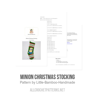 minion christmas stocking crochet pattern by little bamboo handmade - Minion Christmas Stocking