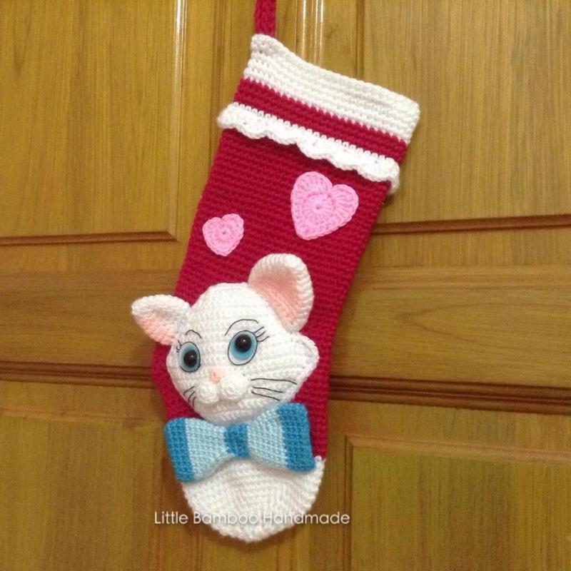 Cat Christmas Stockings.My Lovely Cat Christmas Stocking Allcrochetpatterns Net