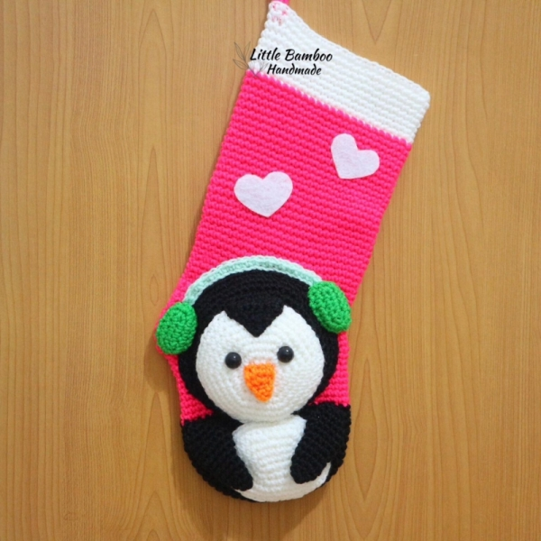 Penguin Christmas Stocking Crochet Pattern Allcrochetpatterns