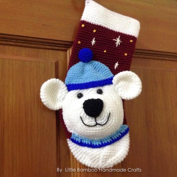 Polar Bear Christmas Stocking crochet pattern - Allcrochetpatterns.net