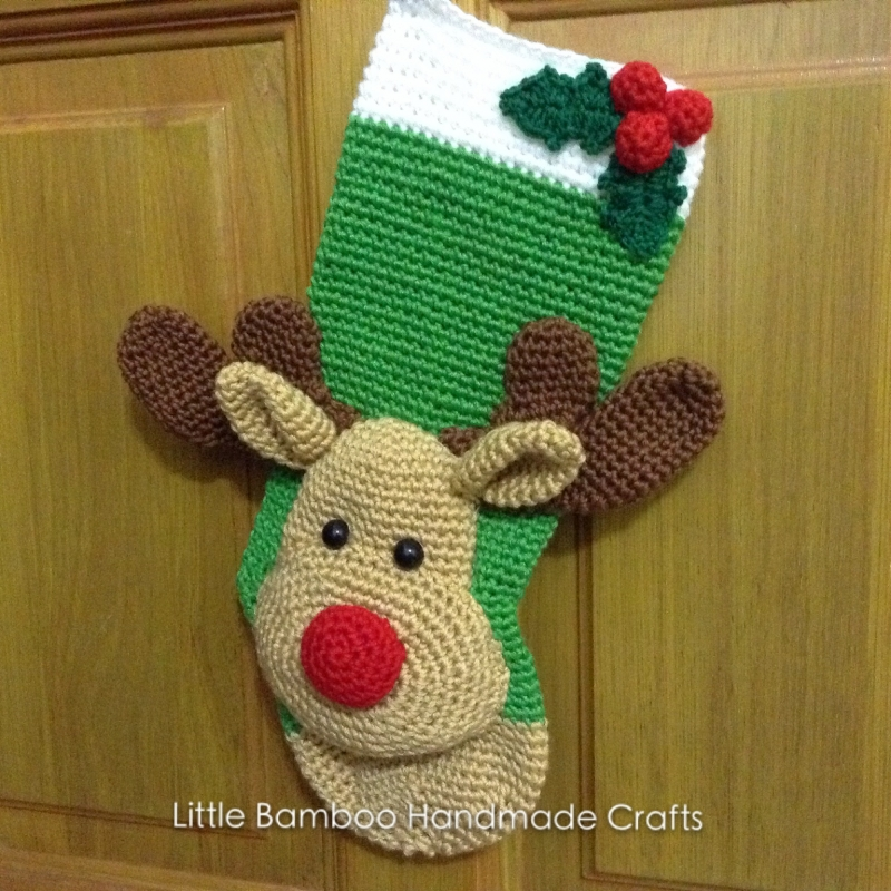 Reindeer Christmas Stocking Crochet Pattern Allcrochetpatterns