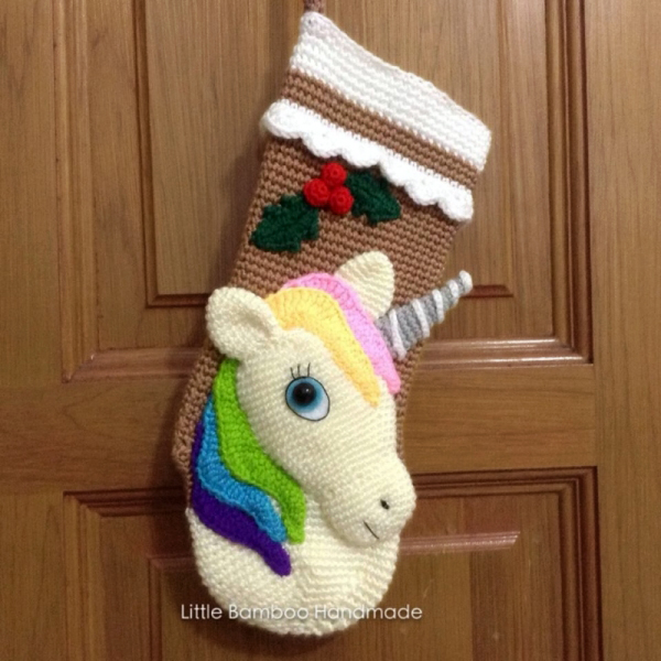 Unicorn Christmas Stocking Crochet Pattern Allcrochetpatterns