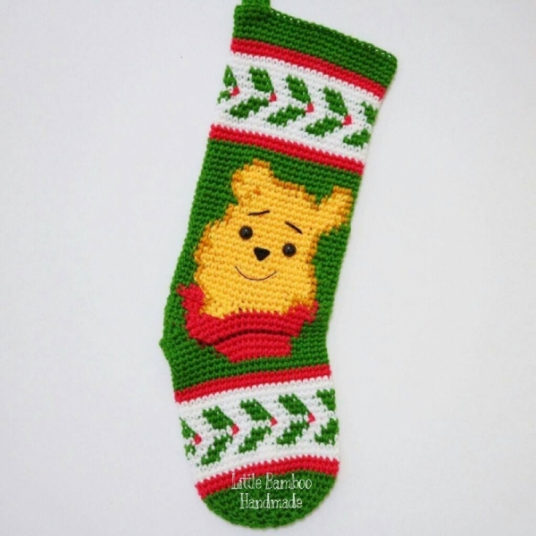 winnie the pooh christmas stocking crochet pattern by little bamboo handmade - Pooh Christmas