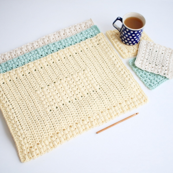 Sunny Hollow Placemat And Coaster Set Crochet Pattern