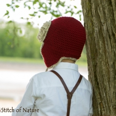 The Red Baron Aviator Hat crochet by Stitch of Nature