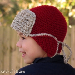 The Red Baron Aviator Hat crochet pattern by Stitch of Nature