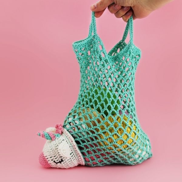 Unicorn Foldaway Market Bag Crochet Pattern Allcrochetpatterns