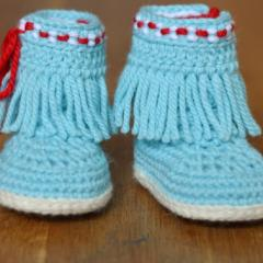 Baby Moccasin Fringe Booties crochet pattern by Matilda's Meadow