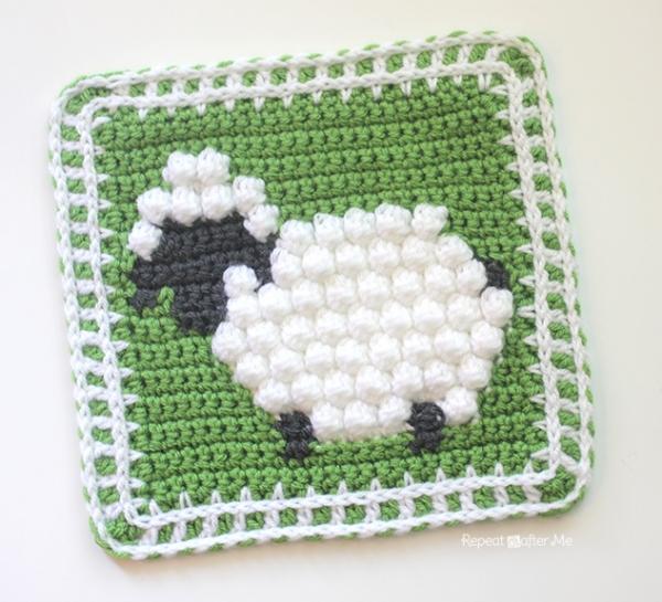 Free Crochet Pattern Bobble Afghan : Bobble stitch sheep - Free crochet pattern