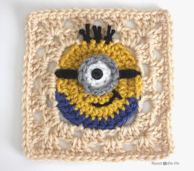Crochet Minion Granny Square - Free crochet pattern
