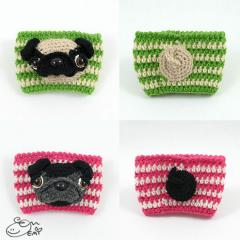 Cup Cozy Sleeve Pug crochet pattern by Emi Kanesada (Enna Design)